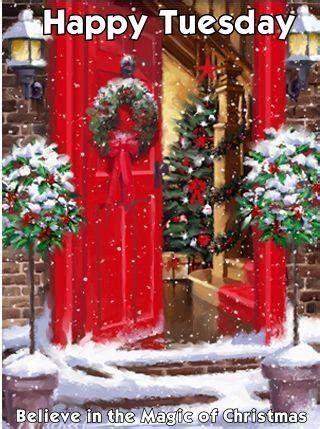 winter red door happy tuesday image pictures