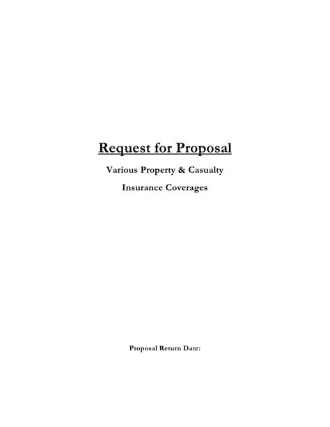 Insurance Request For Proposal Template Insurance Request For Template