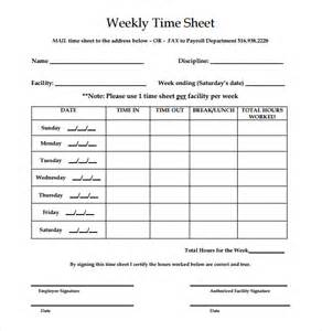 clock in sheet template 16 weekly timesheet templates free sle exle