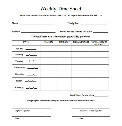 free printable time sheets weekly 21 weekly timesheet templates free sle exle