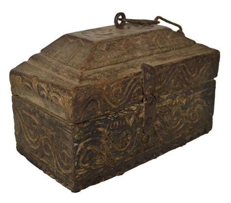 Handmade Indian Furniture - antique handmade indian carved wood money box with