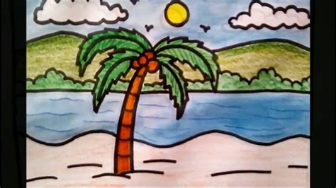 simple landscape sketches  kids   draw coconut