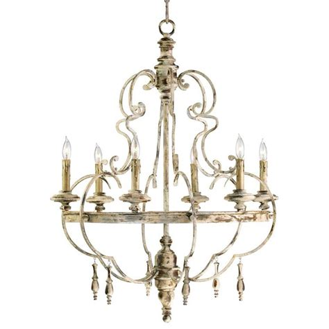 Da Vinci 6 Light French Country Antique Ivory Chandelier Ivory Chandelier