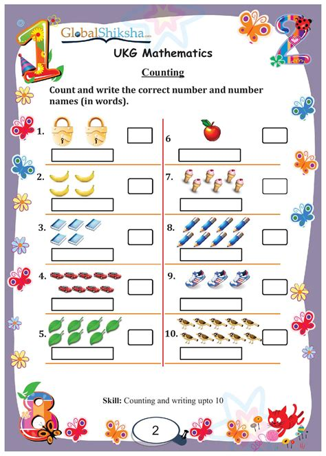 Ukg Worksheets by Counting Ukg Math Worksheets Counting Best Free