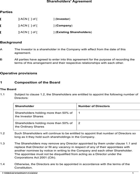simple shareholder agreement template shareholders agreement sle for free