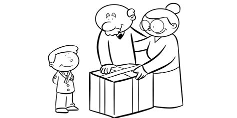 colorear abuela haciendo manualidades con sus nietos colorear abuelos haciendo un regalo a su nieto