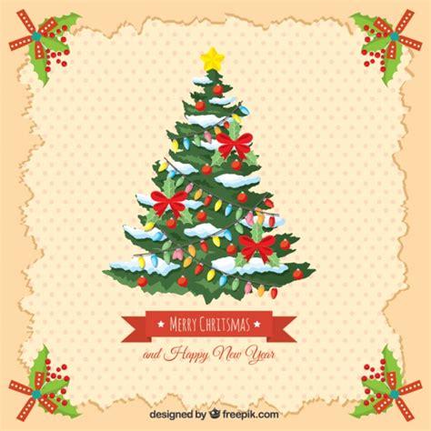 tarjeta vintage con 225 rbol de navidad y feliz a 241 o nuevo