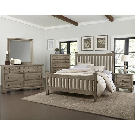 Bb81 559 Vaughan Bassett Furniture Queen Poster Bed Washed Oak Bedroom Furniture