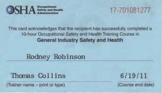 Osha 10 Card Template by Robinson Climate Occupational Safety And Health