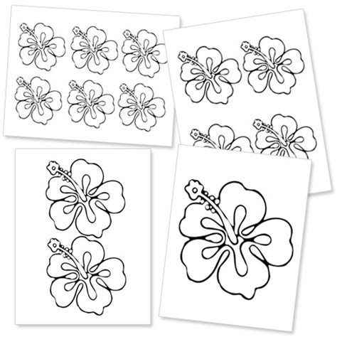 printable pictures of hawaiian flowers printable hibiscus flower template printable treats