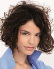 curly plunging bob with a short back angled bob curly plunging bob with a short back angled bob