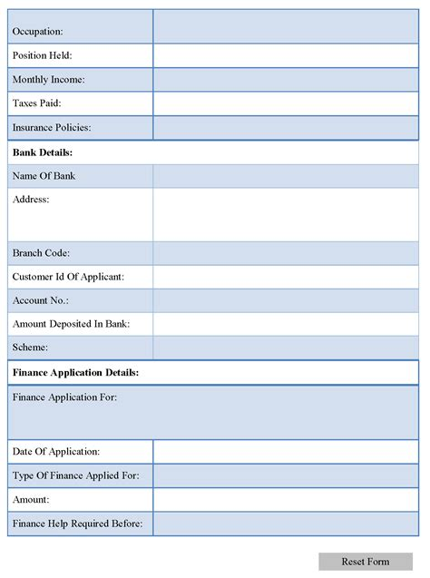 finance forms templates finance application form editable forms
