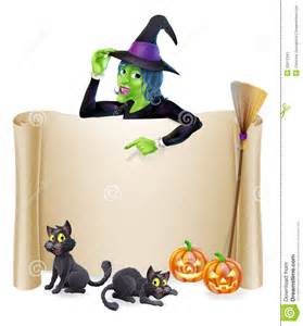 halloween witch scroll banner stock image image 33412341