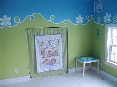 blue and green playroom wall painting ideas