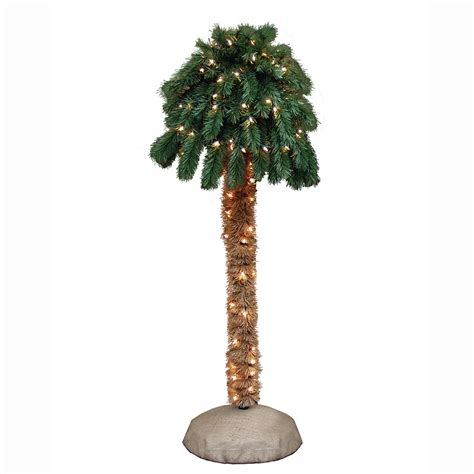 4 Pre Lit Artificial Palm Tree With 105 Clear Lights