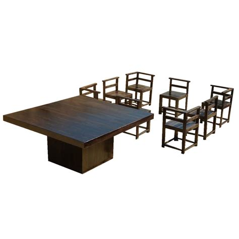 8 Chair Square Dining Table Modern Rustic Solid Wood 64 Quot Square Pedestal Dining Table 8 Chairs