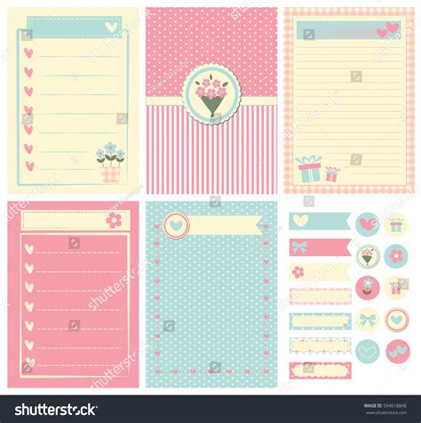 paper cards cut notebook template template notebook paper diary scrapbook card stock vector