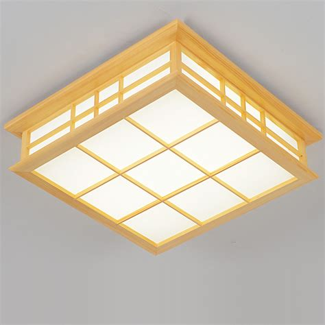 Lu Led Ceiling japanese style delicate crafts wooden frame led ceiling light luminarias para sala dimming led