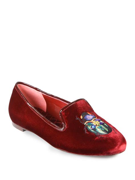 tory burch house shoes tory burch easton velvet patent leather smoking slippers in red bordeaux lyst