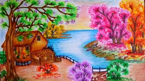 draw nature landscape scenery step  step