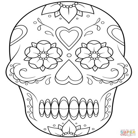 imagenes de calaveras y catrinas para colorear dibujo de calavera de az 195 186 car con flores y corazones para