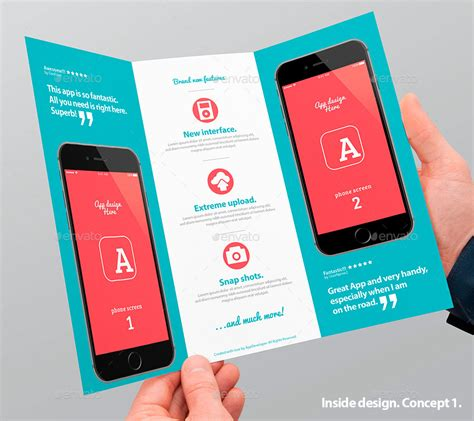 brochure templates for android mobile app trifold brochure vol 1 by level studio