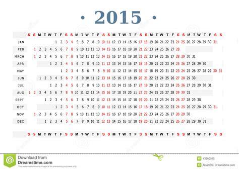 printable calendar horizontal 2015 calendar 2015 print stock vector image 43660025