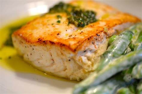 seared and poached halibut with salsa verde and sugar snap