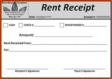landlord receipt template rent receipt template doc