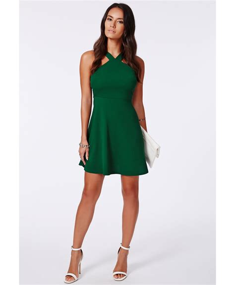 Emerald Umbrela Dress Hq missguided vere crepe strappy skater dress emerald in green lyst