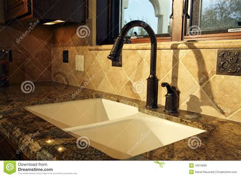 Modern Kitchen Sink And Fixtures Stock Image   Image: 10015809