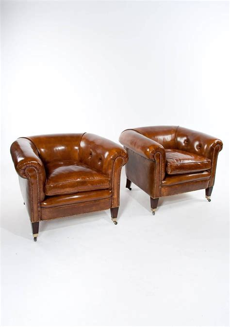 tub armchairs for sale quality pair of antique leather tub armchairs for sale at