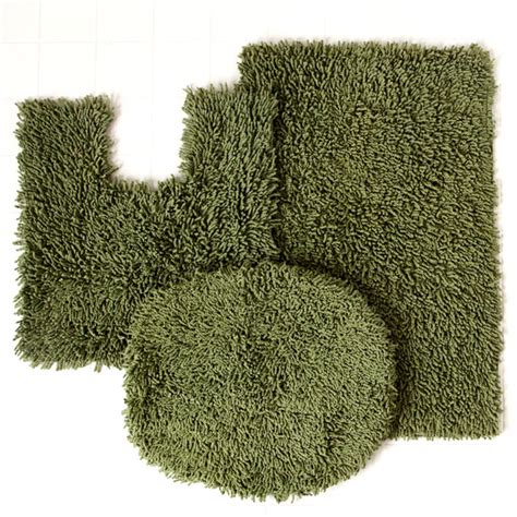 Home Weavers Luxury Shag Bath Rug Sets Forest Green Bathroom Rugs
