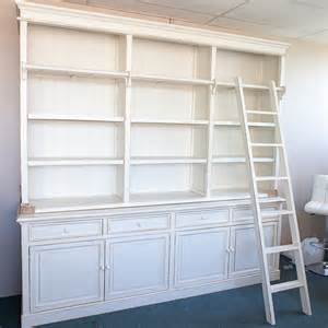 Library Style Bookcase With Ladder Three Bay Provincial Style Library Bookcase With Ladder Ebay
