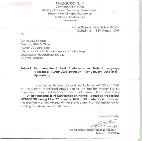 Invitation Letter For Indian Employment Visa The Third International Joint Conference On Language Processing Ijcnlp 08