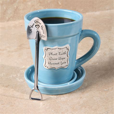 Flower Mug Spoon plant faith flowerpot mug with saucer spade shaped spoon