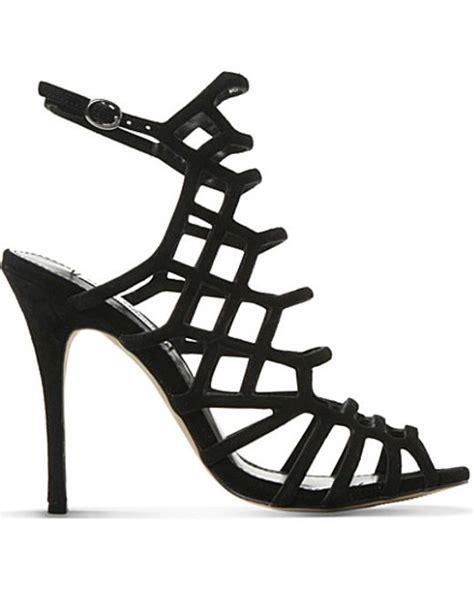 leather caged heeled sandal steve madden slithur leather caged heeled sandals in black