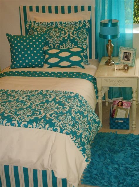 teal decor trendy turquoise damask custom dorm bedding set guest
