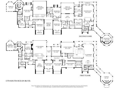 mega mansions floor plans 29 million newly listed 30 000 square foot oceanfront
