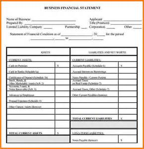 8 business financial statement form financial statement form