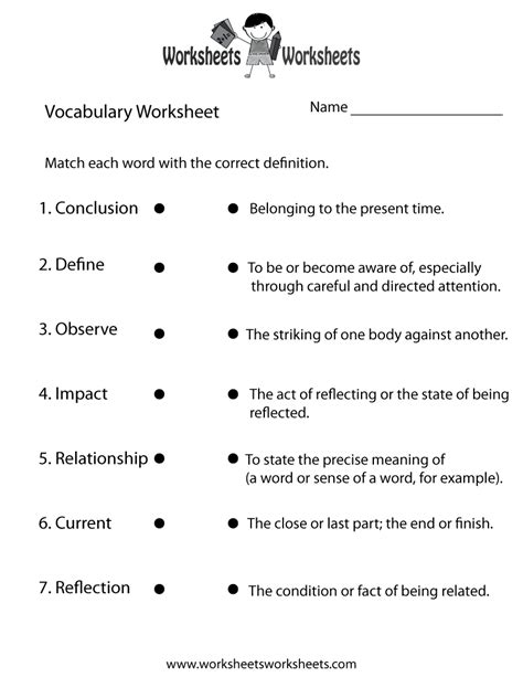 printable vocabulary games english vocabulary worksheet