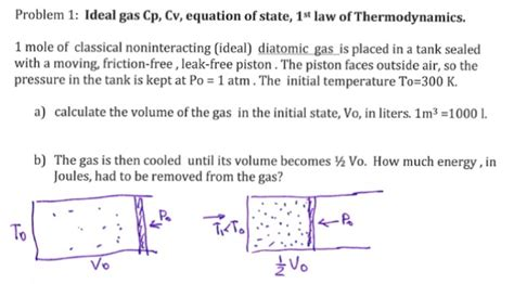 solved ideal gas cp cv equation of state 1 st of t