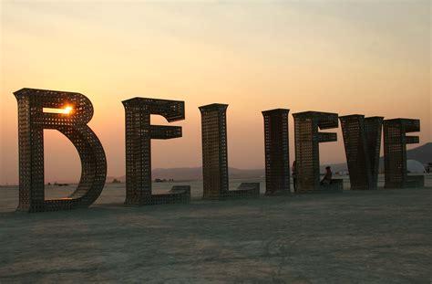 believe one believe sculpture at burning 2013 wandering through