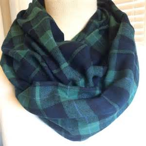 Flannel Infinity Scarf Green Navy Plaid Flannel Infinity Scarf Soft And Cozy Plaid