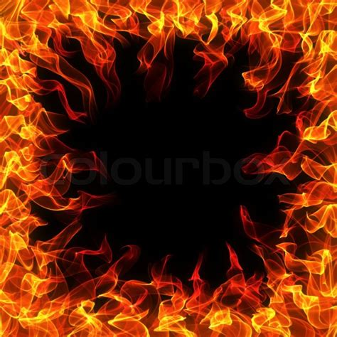 Classic Home Plans by Fire And Flame Frame On Black Background Stock Photo