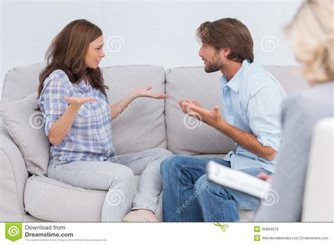 couch counseling couple going through therapy royalty free stock image