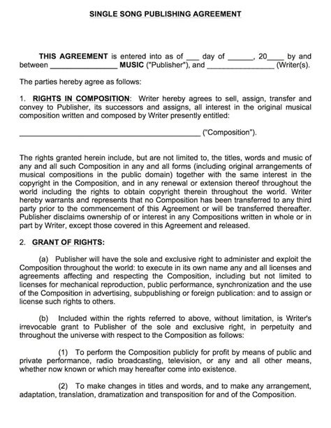 publishing agreement template single song publishing contract musiccontracts