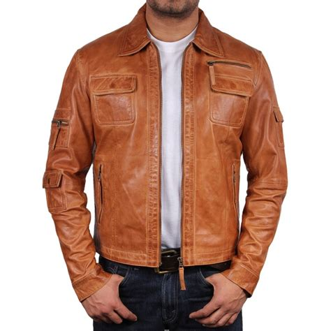 Light Brown Leather Jacket Mens Outdoor Jacket