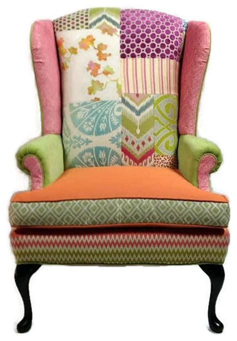 Colorful Accent Chair Colorful Patchwork Wing Chair Eclectic Armchairs And Accent Chairs By Salmagundi