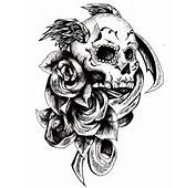 Black Rose Flowers And Winged Skull Tattoo Design